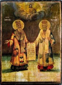 """Икона на св. св. Кирил и Методий от XIX век, изложена в експозиция """"Възраждане"""""""